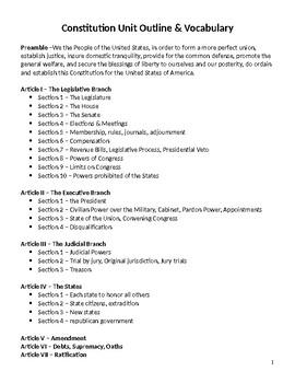 Constitution Unit Vocabulary List