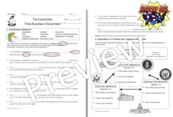 Constitution Unit Vocabulary and Application Activities