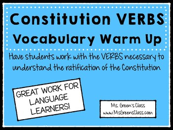 Constitution VERBS Vocabulary Warm Up