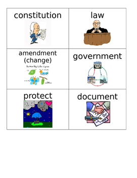 Constitution Vocabulary Flashcards for ESL, ELL, ESOL