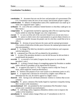 Constitution Vocabulary Practice - Worksheet