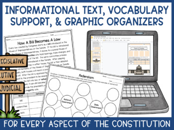 Constitution Worksheets- Informational Text, Vocabulary, & Graphic Organizers
