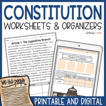 Constitution Workbook with Text, Vocabulary Support, and Graphic Organizers