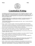 Constitution Writing Parts and Create your Own Constitution Assignment