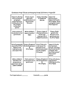 Constitution and Bill of Rights Bingo