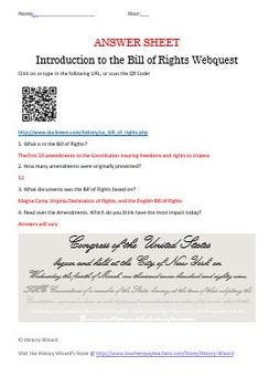 Constitution and Bill of Rights Webquest
