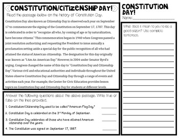 Constitution and Citizenship Day Morning/Word Work