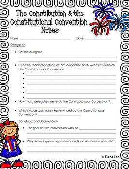 Constitution and Constitutional Convention PowerPoint and Notes Handout