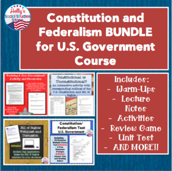 Constitution and Federalism BUNDLE for U.S. Government