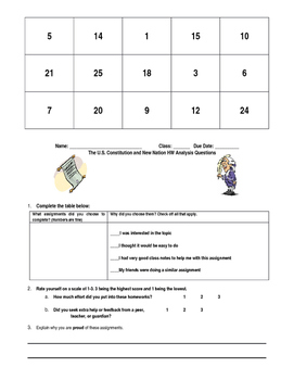 Constitution and New Nation Homework BINGO