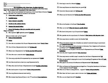 Constitution of the United States Reading Guide Key