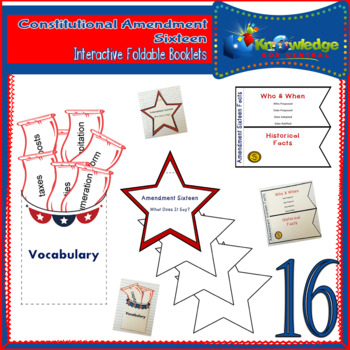 Constitutional Amendment Sixteen Interactive Foldable Booklets