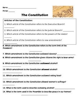 Constitutional Amendment Worksheet