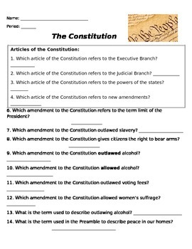 of Rights Amendments 1-10 Simple Hypothetical situations Worksheet