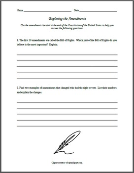 Constitutional Amendments Exploration Worksheet by MissZitaMarie