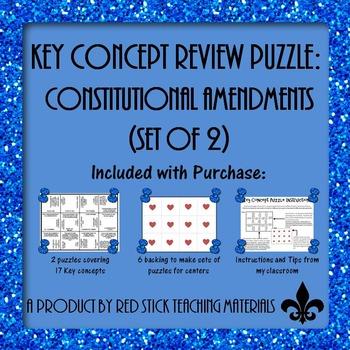 Constitutional Amendments Key Concept Puzzle--set of 2