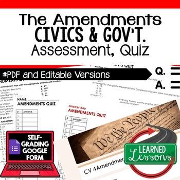 Constitutional Amendments Quiz, Civics Assessment