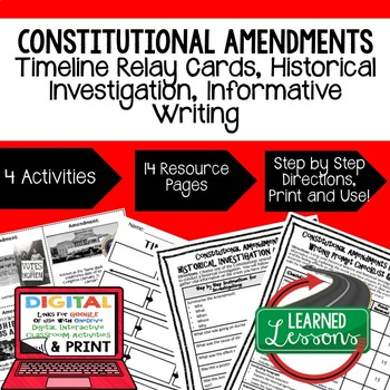 Constitutional Amendments Timeline, Research, & Writing Activities Google Link