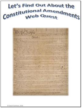 Constitutional Amendments Webquest Scavenger Hunt Common Core Activity