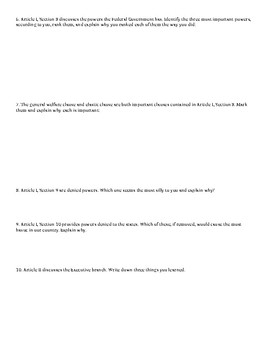 Constitutional Analysis Worksheet (Excellent!)
