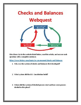 Checks and Balances/Separation of Powers Webquest (With Answer Key!)