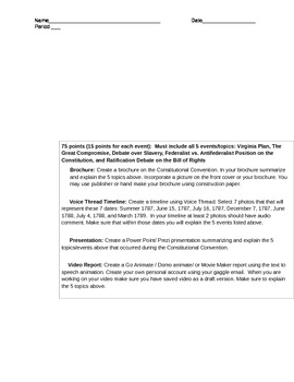 Constitutional Convention Choice Menu (Differentiated Instruction)