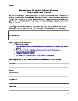 Constitutional Convention Delegate Webquest (common core)