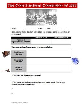 Constitutional Convention Great Compromise Worksheet Activity
