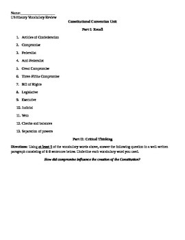 Constitutional Convention Review Sheet