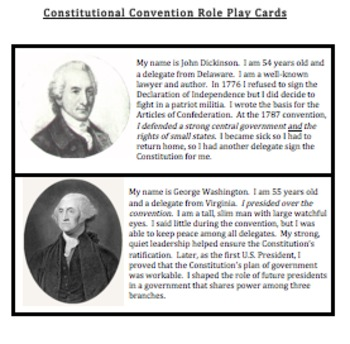 Constitutional Convention: Role Play Cards