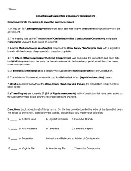 Constitutional Convention vocabulary practice worksheet