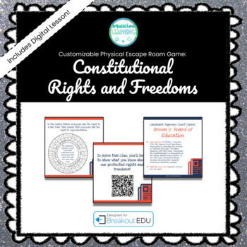 Constitutional Rights & Freedoms Customizable Escape Room / Breakout Game