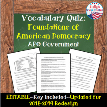 Constitutional Underpinnings/Federalism Vocabulary Quiz- AP® Government