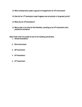 Constitutional Unit Worksheets and Exam