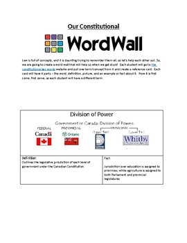 Constitutional Word Wall Activity