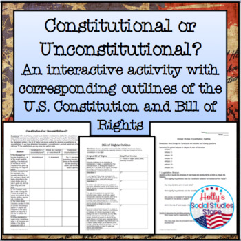 Constitution And Bill Of Rights Outlines And Scavenger Hunt Activity