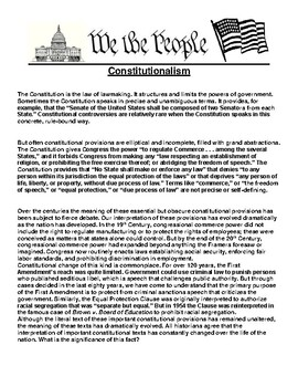Constitutionalism Article and Writing Prompt