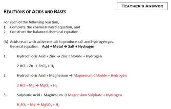 Construct the Balanced Chemical Equation for the Reactions of Acids and Bases
