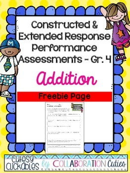Constructed & Extended Response Math Performance Task Addition Freebie