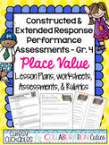 Constructed & Extended Response Math Performance Task Lessons {Place Value 4th}