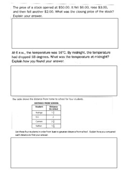 Constructed (Open-Ended) Response Word Problem Class Work