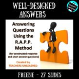 R.A.P.P. Method Constructed Response PowerPoint Lesson