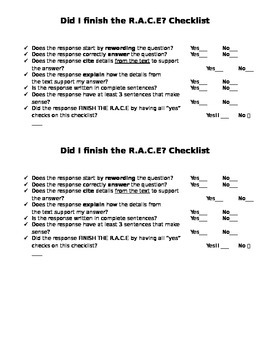 Constructed Response Checklist