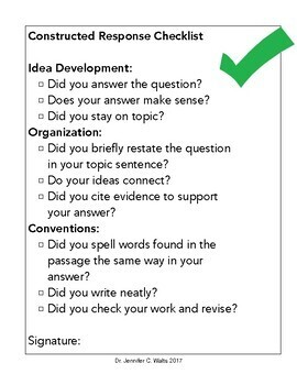 Constructed Response Checklist for Students