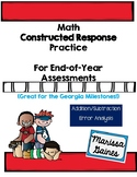Constructed Response Error Analysis and Addition