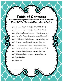 Constructed Response Questions using EPIC's Ocean's Alive Ebook Series