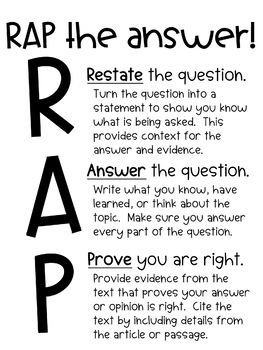 Constructed Response, Short Answer, RAP Poster