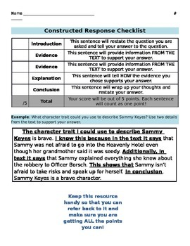 Constructed Response Student Checklist