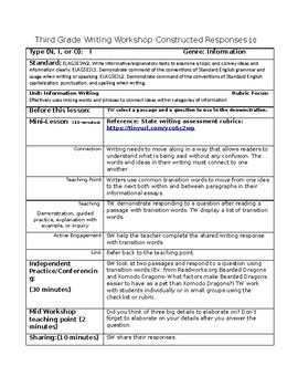 Constructed Responses lesson plans for writing workshop