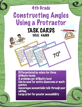 Constructing Angles using a Protractor - Task Cards